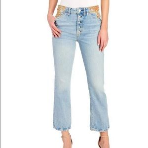 NWT FREE PEOPLE EMBELLISHED CROPPED STRAIGHT JEAN